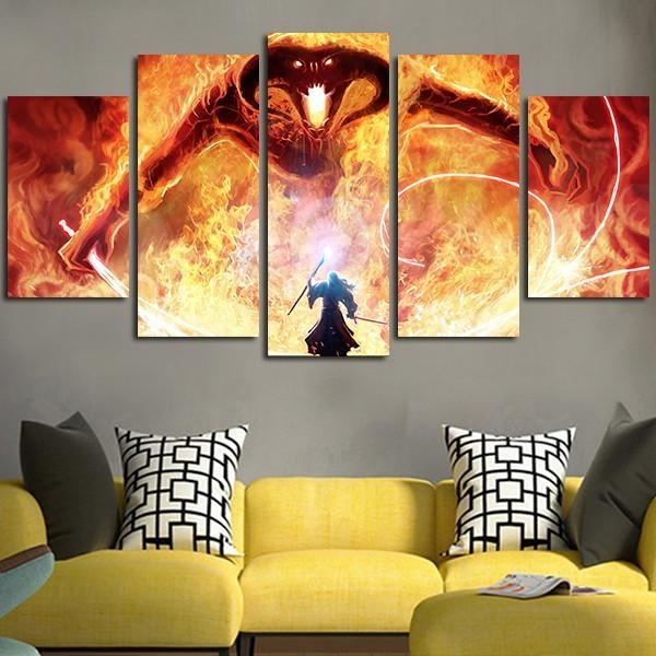 5 Panel The Lord Of The Rings Balrog Wall Art Canvas Free Shipping Regarding Lord Of The Rings Wall Art (Image 1 of 10)