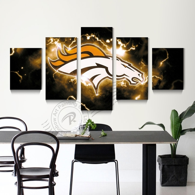 5 Panel Wall Art Denver Broncos Picture Painting Modern Prints Home Intended For Broncos Wall Art (View 3 of 10)