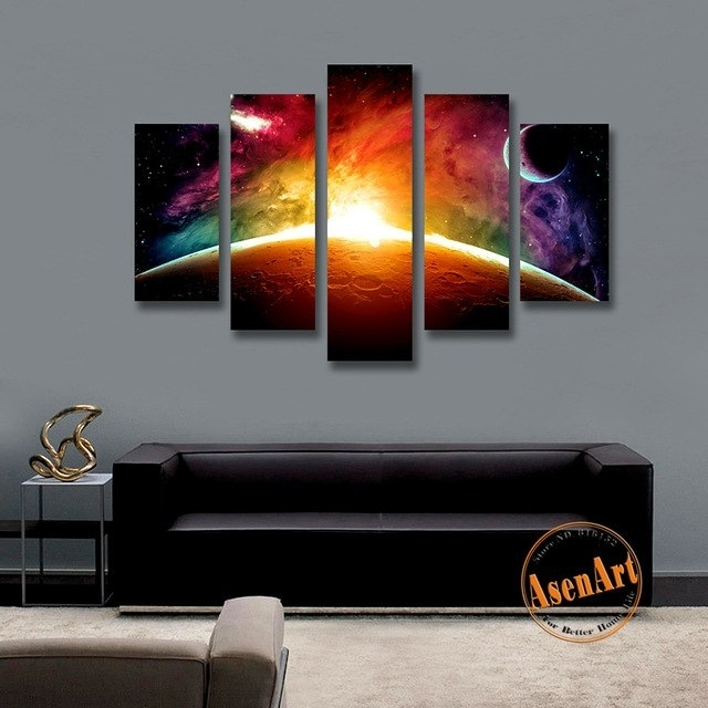 5 Panel Wall Picture Sunrise Universe Stars Painting Modern Canvas Inside Panel Wall Art (Image 4 of 10)