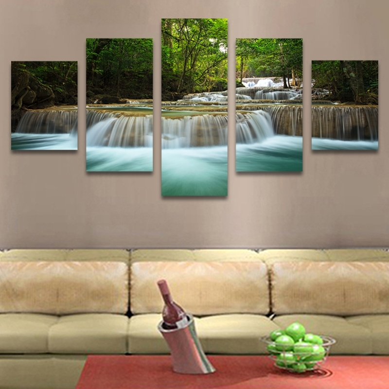 5 Panel Waterfall Painting Canvas Wall Art Picture Home Decoration For Modern Painting Canvas Wall Art (Image 4 of 10)