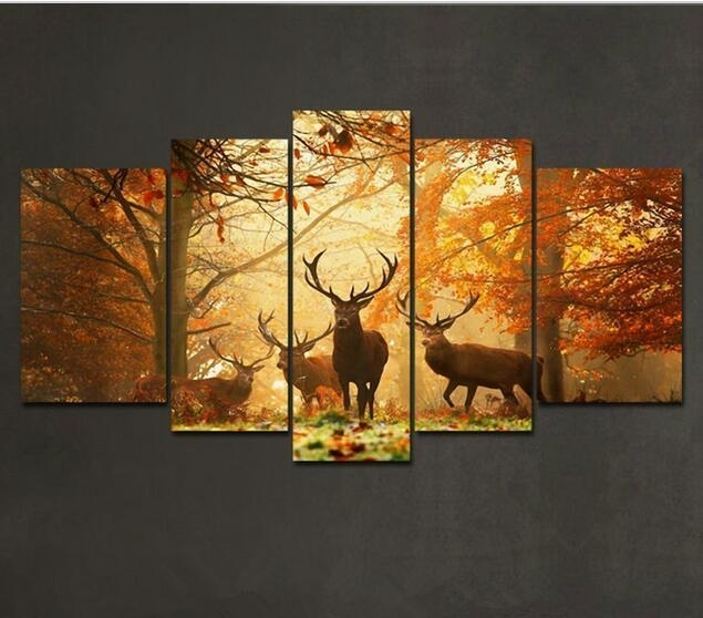 5 Panels Brown 5 Panel Wall Art Painting Deer In Autumn Forest In 5 Piece Wall Art Canvas (Image 2 of 10)