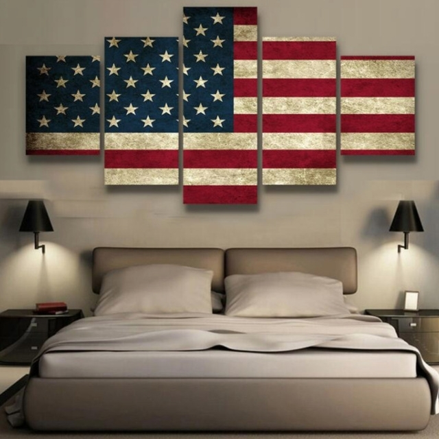 5 Panels Canvas Prints Rustic American Flag Canvas Painting Poster With American Flag Wall Art (View 3 of 10)