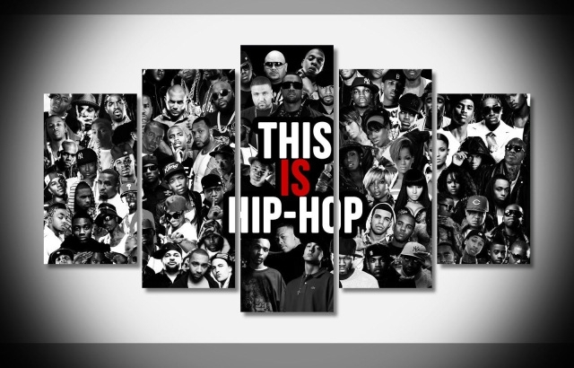 5 Panels Hip Hop Rap Gansta Poster Wall Art Picture For Living Room With Hip Hop Wall Art (Photo 7 of 10)