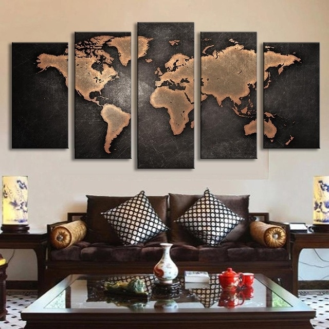 5 Pcs/set Vintage Abstract Wall Art Painting World Map Print On Regarding Map Of The World Wall Art (Photo 3 of 10)