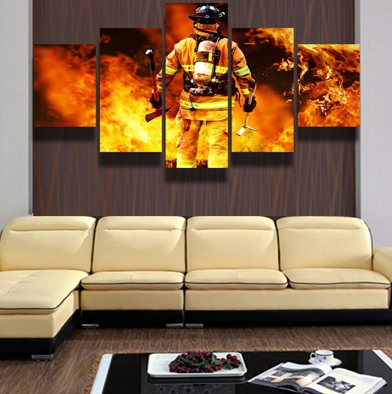 5 Piece Canvas Art Hd Firefighter Print Pictures For The Living Room With Firefighter Wall Art (Image 3 of 10)