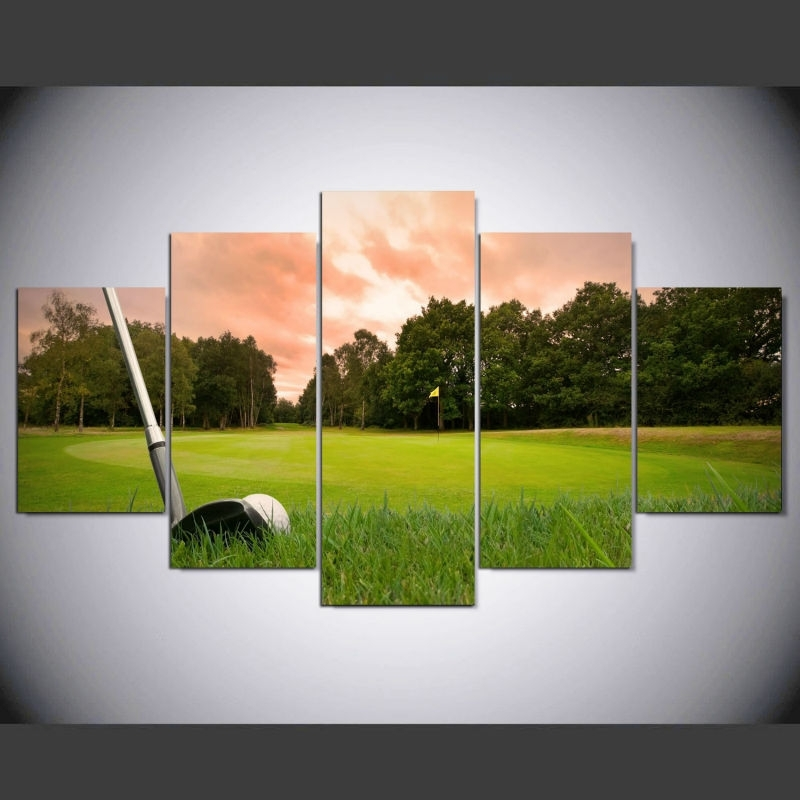 5 Piece Canvas Art Hd Print Canvas Room Home Decor Wall Art Hd Golf With Regard To Golf Canvas Wall Art (Image 2 of 10)