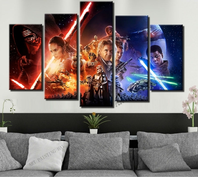 5 Piece Canvas Art Star Wars Episode The Force Awakens Movie Poster Intended For 5 Piece Canvas Wall Art (View 4 of 10)