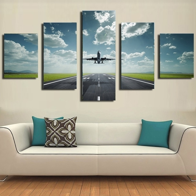 5 Piece Canvas Prints Modern Wall Pictures For Living Room Airplane Inside Airplane Wall Art (Image 2 of 10)