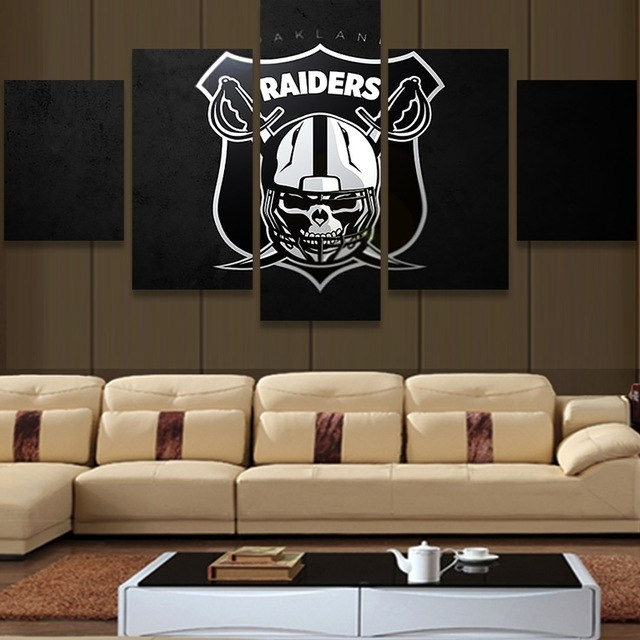 5 Piece Nfl Oakland Raiders Logo Modern Home Wall Decor Painting Pertaining To Nfl Wall Art (View 6 of 10)