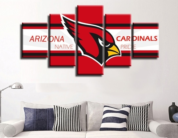 5 Pieces Arizona Cardinals Red Bird Canvas Painting Wall Art Poster In Arizona Wall Art (View 5 of 10)