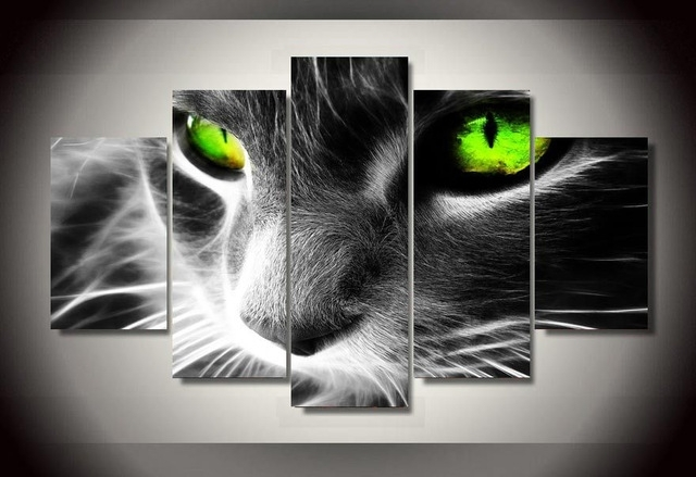 5 Pieces Black Cat Canvas Prints Painting Wall Art Home Decor With Cat Canvas Wall Art (Image 3 of 10)