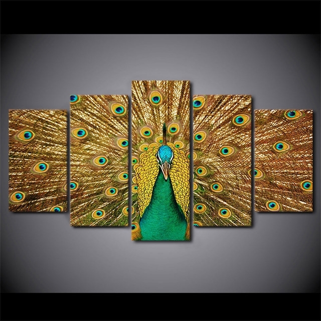 5 Pieces Canvas Prints Animal Colorful Peacock Painting Wall Art Within Wall Art Panels (Photo 4 of 10)