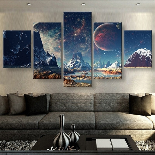 5 Pieces Canvas Prints Mountains And Space Sport Canvas Painting In 5 Piece Canvas Wall Art (Image 5 of 10)