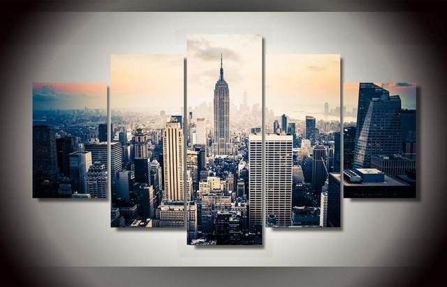 5 Pieces Canvas Prints New York City Vintage Painting Wall Art Home Throughout New York Canvas Wall Art (Image 4 of 10)
