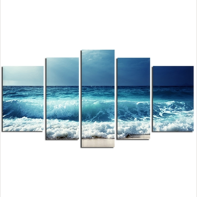 5 Pieces Sea Wave Painting Large Canvas Wall Art Huge Modern Ocean In Ocean Wall Art (Photo 1 of 10)