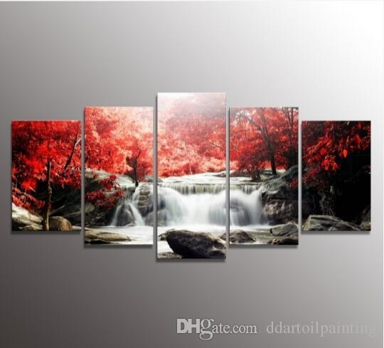 5 The Panel Wall Art Of Mangroves And Waterfalls Painting Pictures Intended For 5 Panel Wall Art (Image 6 of 10)