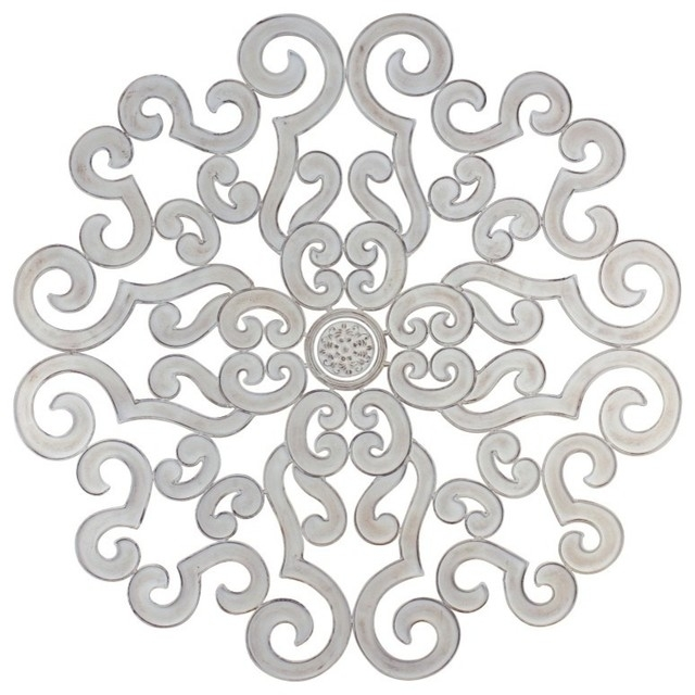 "50"" Oversize White Scroll Wall Medallion, Round Art Metal Iron Swirl Inside Metal Scroll Wall Art (Image 2 of 10)"