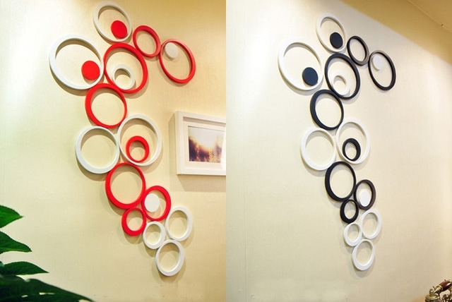 5Pcs/set Wooden Circle Shape 3D Three Dimensional Wall Stickers With Circle Wall Art (Photo 3 of 10)