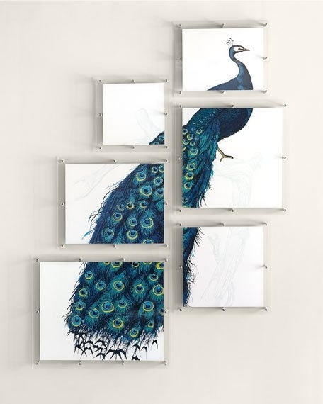 6 Panel Peacock Wall Art Regarding Peacock Wall Art (Image 1 of 10)