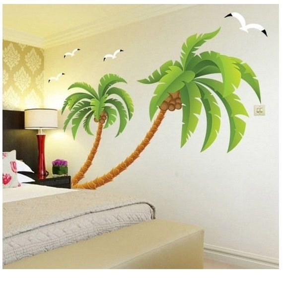 A Lovely Palm Tree Wall Decal Tropical Beach Palm Trees Decals With With Regard To Palm Tree Wall Art (Image 1 of 10)