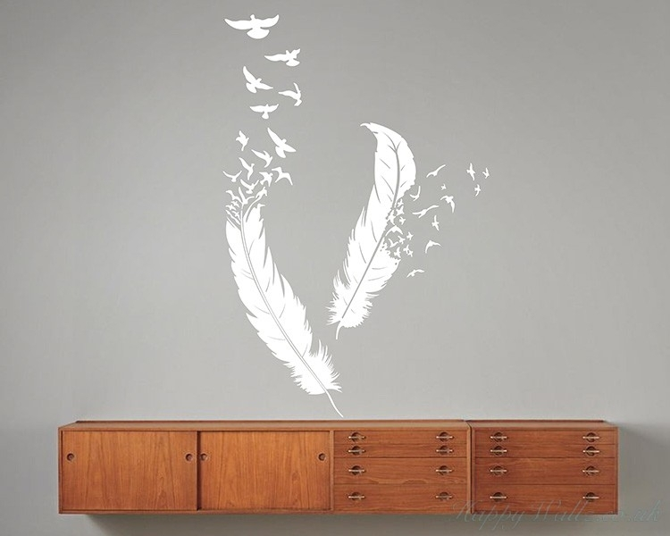 A Pair Of Feathers Modern Wall Art Sticker In Feather Wall Art (Image 1 of 10)