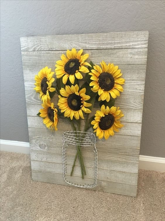 A Rustic Pallet Sign With Wire And Faux Sunflowers Is Ideal For Wall In Sunflower Wall Art (Image 2 of 10)