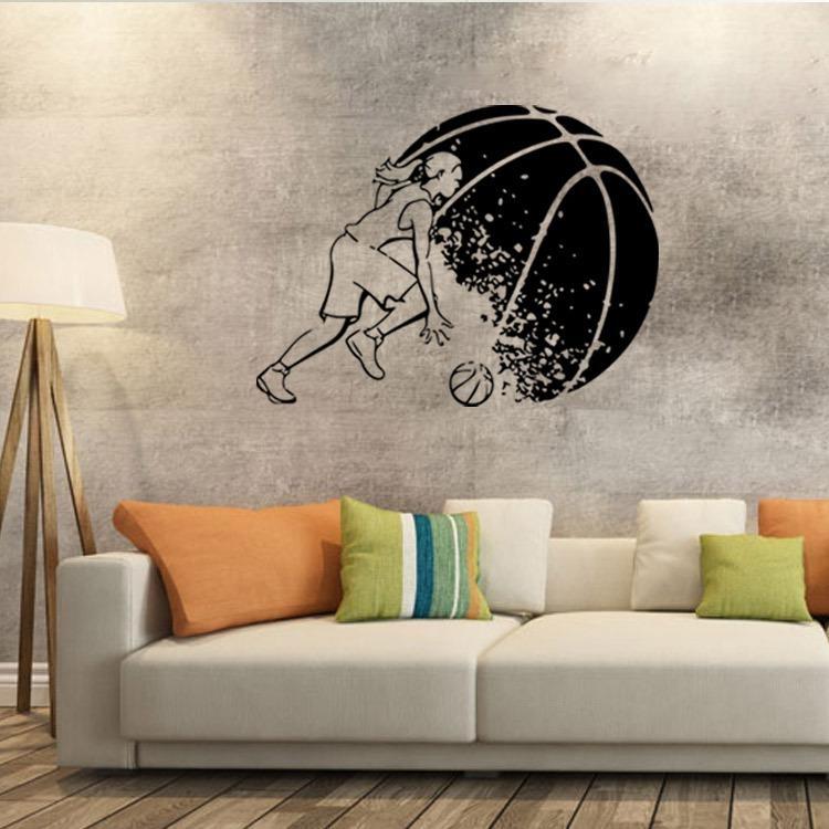 Abstract Basketball Player Wall Art Mural Decor Boys Room Wallpaper Inside Basketball Wall Art (Image 1 of 10)