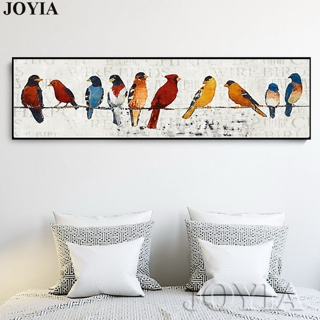 Abstract Bird Picture Classic Decor Sparrow Group Wire Little Birds Throughout Bird Wall Art (Image 1 of 10)