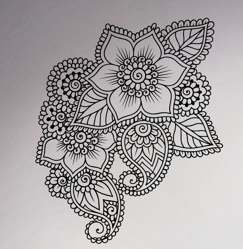 Abstract Flowers Mehndi Wall Vinyl Decal Henna Indian Ornament Intended For Henna Wall Art (Image 1 of 10)