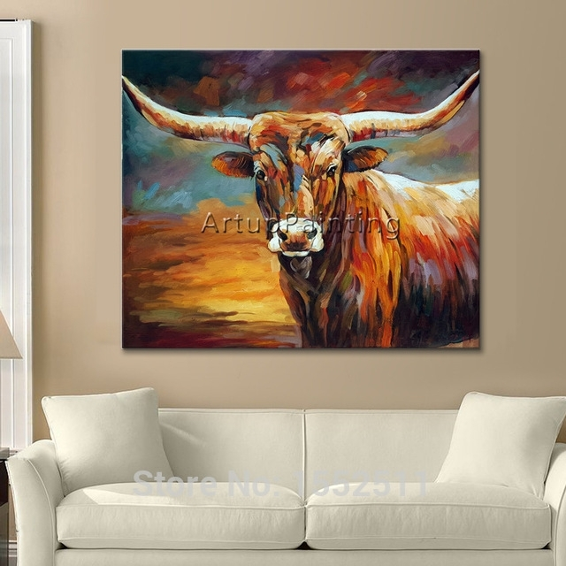 Acrylic Bull Painting Canvas Painting Wall Art Pictures For Living In Acrylic Wall Art (View 10 of 10)