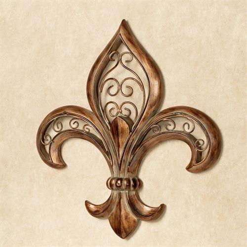 Adalina Burnished Gold Fleur De Lis Wall Art Regarding Fleur De Lis Wall Art (Image 2 of 10)