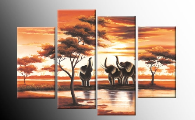African Elephants Trumpet Canvas Sunset Landscape Wall Art 4 Panel With Wall Canvas Art (Photo 3 of 10)