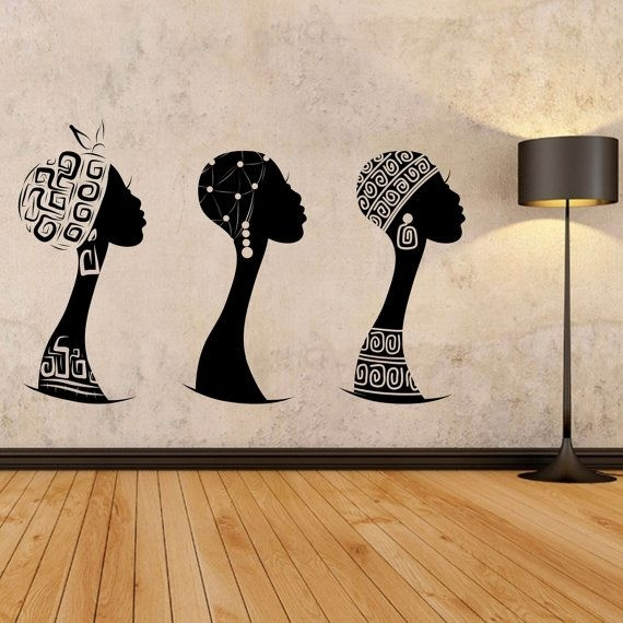 African Women Wall Decal, African Woman Profile Wall Vinyl, Africa Pertaining To African Wall Art (View 9 of 10)
