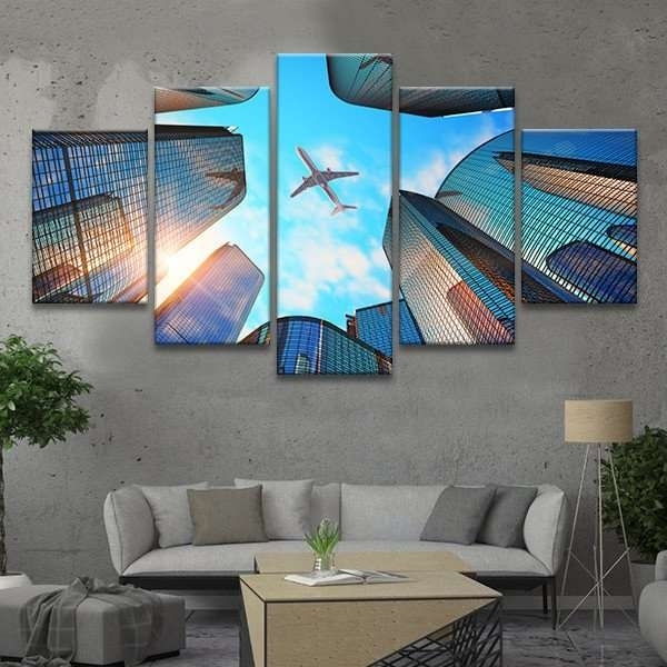 Airplane In Flight Wall Art Multi Panel Canvas – Mighty Paintings Within Airplane Wall Art (Image 4 of 10)