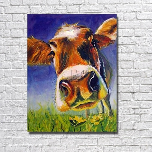 Aliexpress : Buy Handsome Cow Canvas Wall Art Oil Painting Decor Regarding Cow Canvas Wall Art (Image 2 of 10)