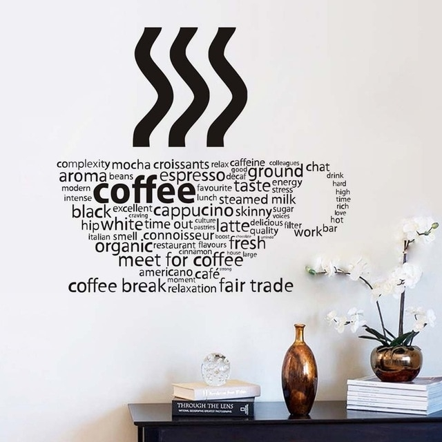 All Kind Letters Coffee Wall Sticker Coffee Cup Shop Restaurant Wall With Regard To Coffee Wall Art (Image 2 of 10)
