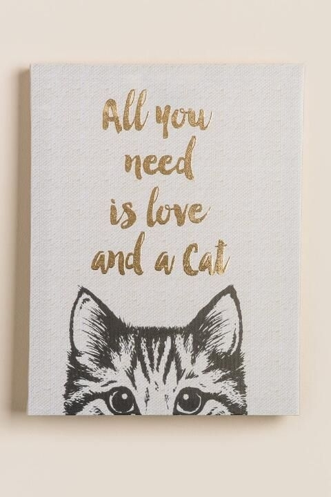 All You Need Is Love And A Cat Canvas Wall Decor  Gift Cl | Cold Inside Cat Canvas Wall Art (Image 4 of 10)