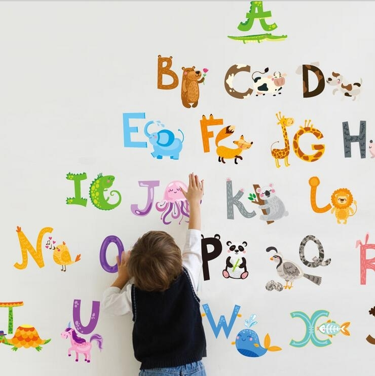 Alphabet Wall Stickers – Wall Stickers For Kids – Wall Decals Within Alphabet Wall Art (Image 4 of 10)