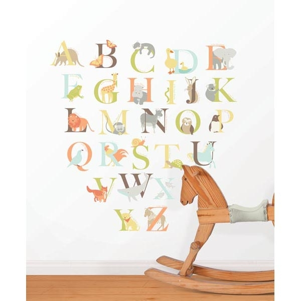 Alphabet Zoo Kit Wall Decals – Wallpops For Baby Peel And Stick Wall Art Pertaining To Alphabet Wall Art (Image 5 of 10)