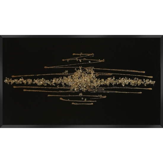 Amaze Glass Wall Art In Black With Champagne Glitter With Regard To Black And Gold Wall Art (Image 3 of 10)