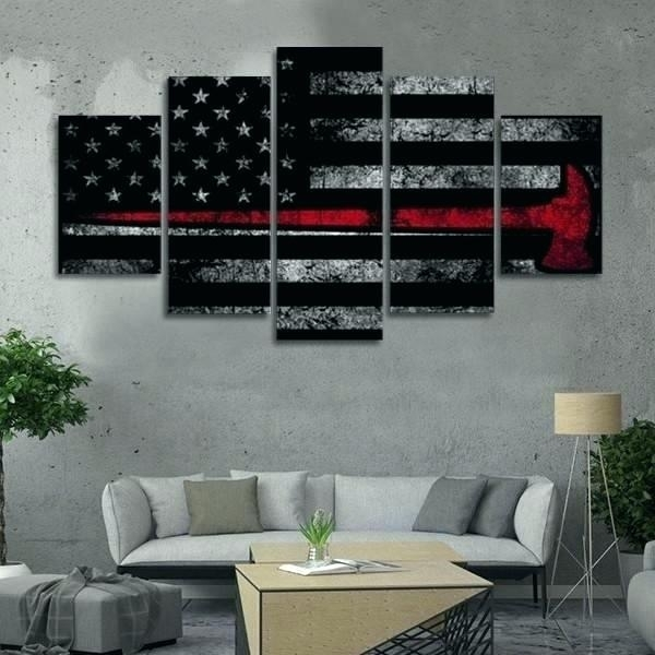 Amazing Firefighter Wall Art Decor Distressed Axe Flag Multi Panel Throughout Firefighter Wall Art (Image 4 of 10)