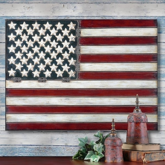 American Flag Folk Art Metal Wall Art Panel Americana 3 Feet | Ebay With Regard To American Flag Wall Art (Image 2 of 10)
