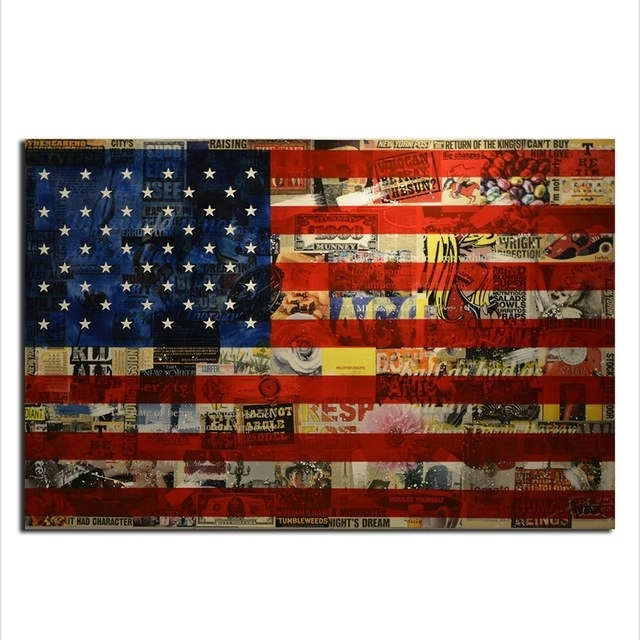 American Flag Wall Art, Modern Canvas Prints Wall Art Hanging In American Flag Wall Art (View 7 of 10)