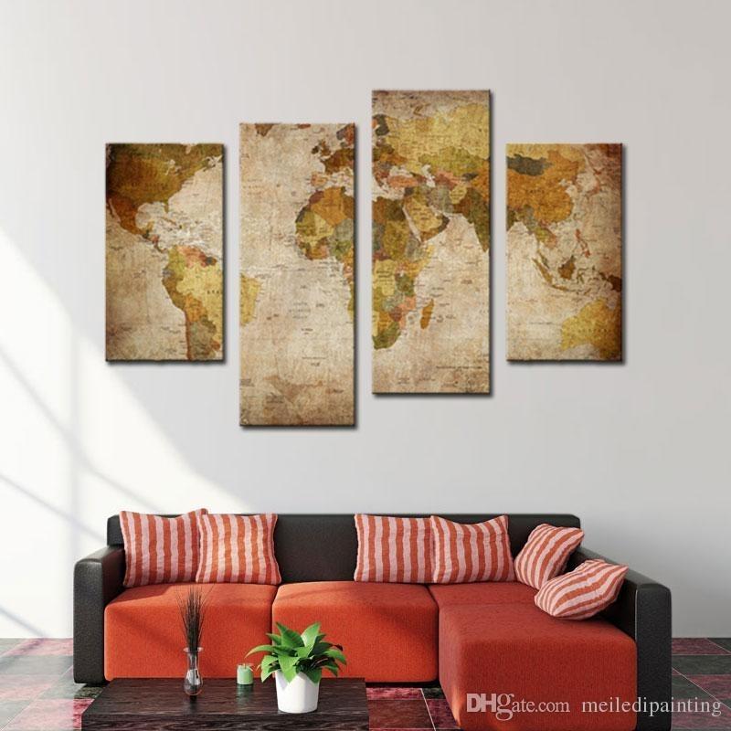 Amosi Art Canvas Prints Wall Art Decor Retro World Map Abstract Inside Home Goods Wall Art (View 8 of 10)
