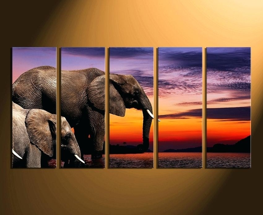 Animal Canvas Wall Art Fashionable Elephant Canvas Wall Art Interior In Elephant Canvas Wall Art (Image 1 of 10)