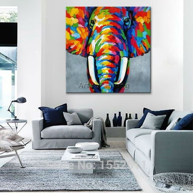 Animal Elephant Oil Painting On Canvas Painting For Living Room Wall Pertaining To Living Room Wall Art (Image 3 of 10)