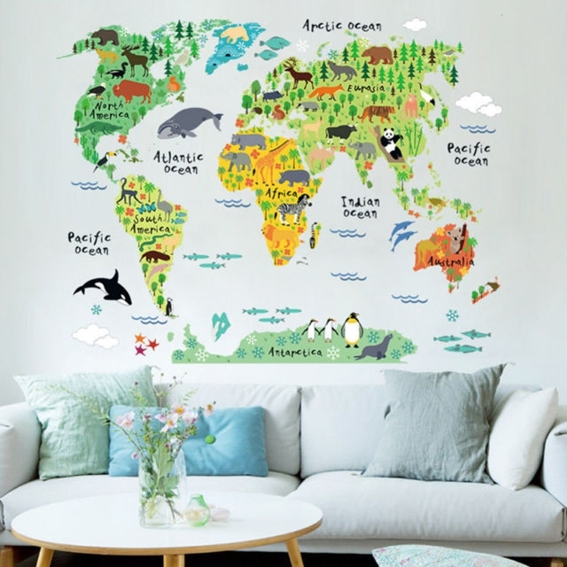 Animal World Map Wall Art Stickers Nursery Kids Decor Removable Regarding Vinyl Wall Art World Map (View 8 of 10)