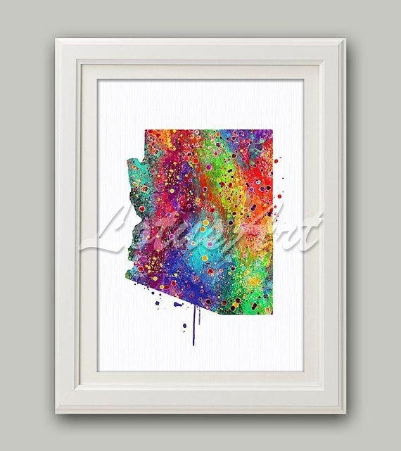 Arizona Map Arizona Print Arizona Wall Art Rainbow Arizona Map Home Pertaining To Arizona Wall Art (View 8 of 10)