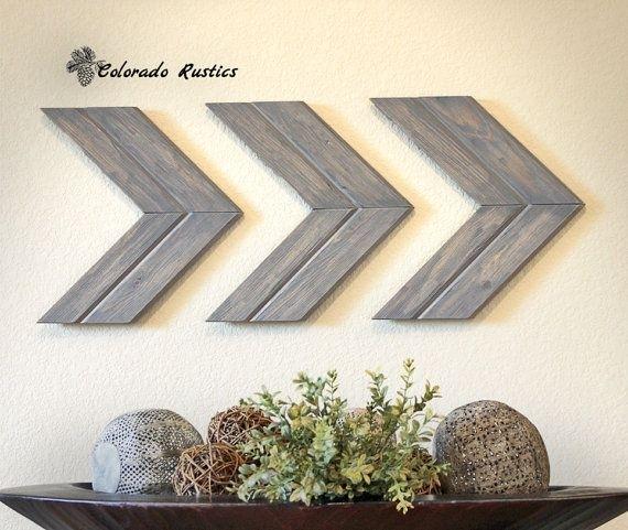 Arrow Wall Art, Chevron, Arrow Wall Décor, Rustic Wall Décor, Arrow Inside Chevron Wall Art (Image 1 of 10)