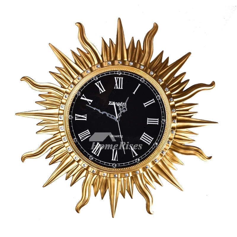Art Deco Wall Clock Sun Round Cool Resin Silent Bedroom Unique Throughout Art Deco Wall Clock (Image 3 of 10)